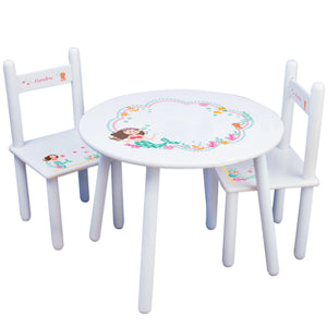 Personalized Table and Chairs with Brunette Mermaid Princess design