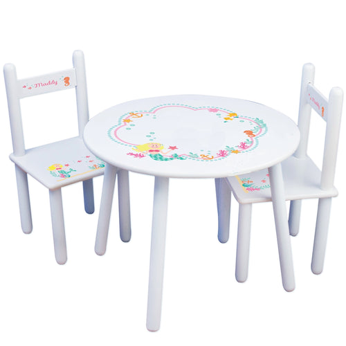Personalized Table and Chairs with Blonde Mermaid Princess design