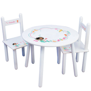 Personalized Table and Chairs with African American Mermaid Princess design