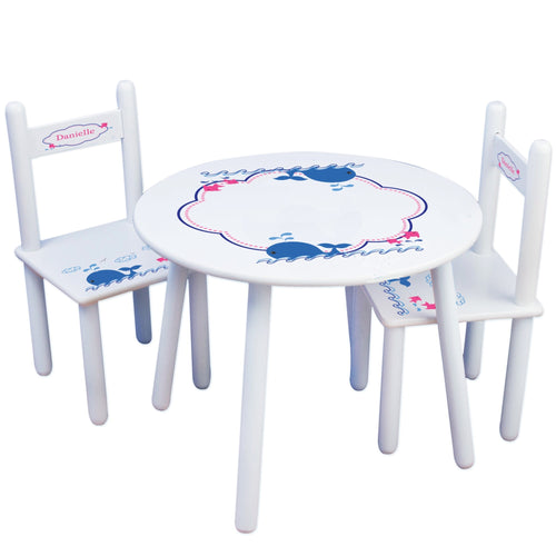 Personalized Table and Chairs with Pink Whale design