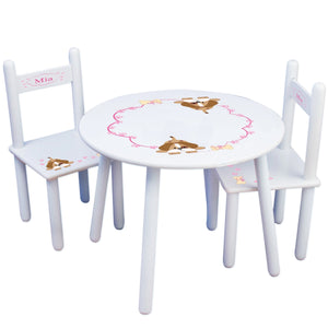 Personalized Table and Chairs with Pink Puppy design