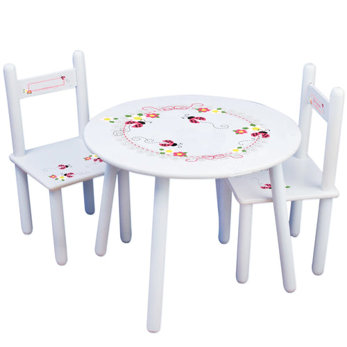 Personalized Table and Chairs with Pink Ladybugs design