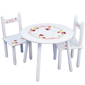 Personalized Table and Chairs with Red Ladybugs design