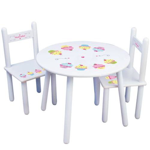 Personalized Table and Chairs with Cupcake design