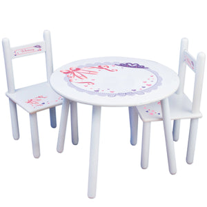 Personalized Table and Chairs with Ballet Princess design