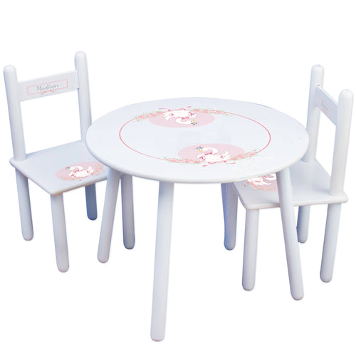 Personalized Table and Chairs with Swan design