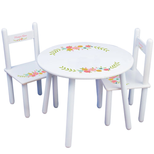 Personalized Table and Chairs with Spring Floral design