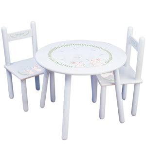 Personalized Table and Chairs with Classic Bunny design