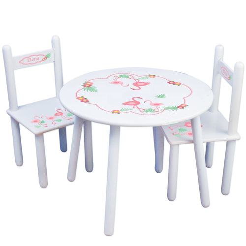 Personalized Table and Chairs with Palm Flamingo design