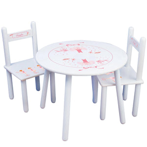 Personalized Table and Chairs with Ballerina Red Hair design