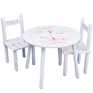 Personalized Table and Chairs with Ballerina Brunette design