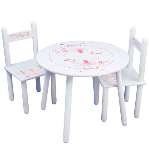 Personalized Table and Chairs with Ballerina Blonde design
