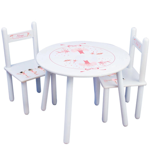 Personalized Table and Chairs with Ballerina Black Hair design