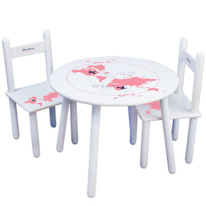 Personalized Table and Chairs with World Map Pink design