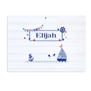 Personalized Vintage Nursery Sign with Boys Sailboat design