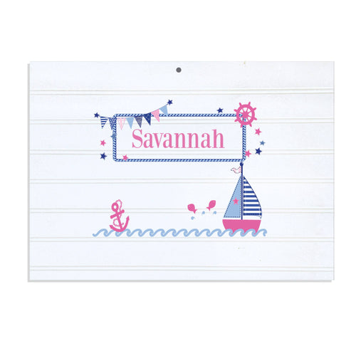 Personalized Vintage Nursery Sign with Pink Sailboat design