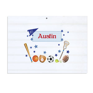 Personalized Vintage Nursery Sign with Sports design