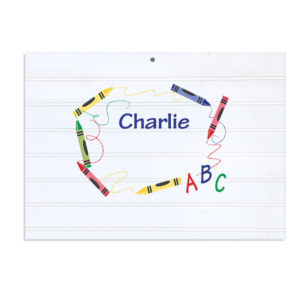 Personalized Vintage Nursery Sign with Crayon design
