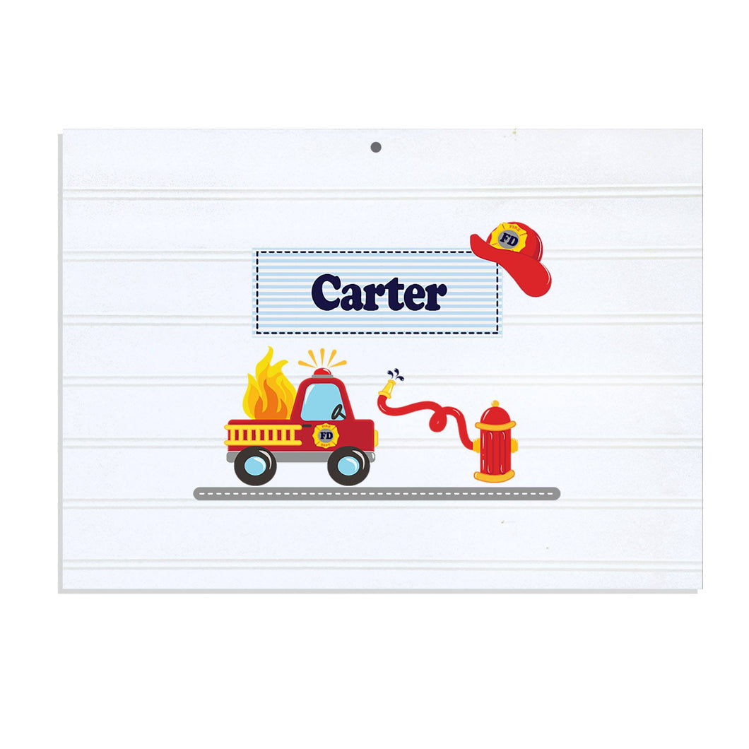 Personalized Vintage Nursery Sign with Fire Truck design