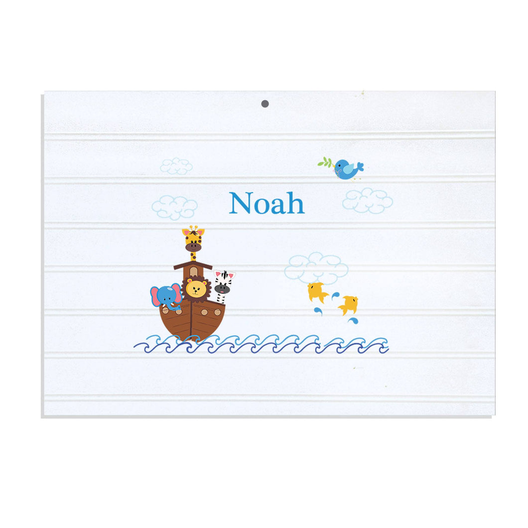 Personalized Vintage Nursery Sign with Noahs Ark design