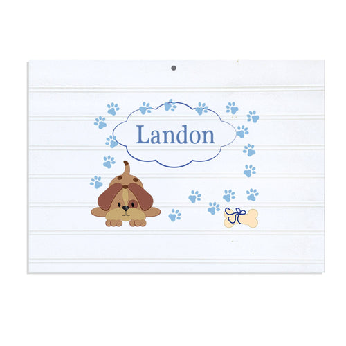 Personalized Vintage Nursery Sign with Blue Puppy design