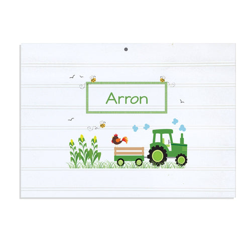 Personalized Vintage Nursery Sign with Green Tractor design