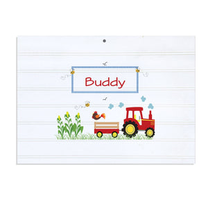 Personalized Vintage Nursery Sign with Red Tractor design