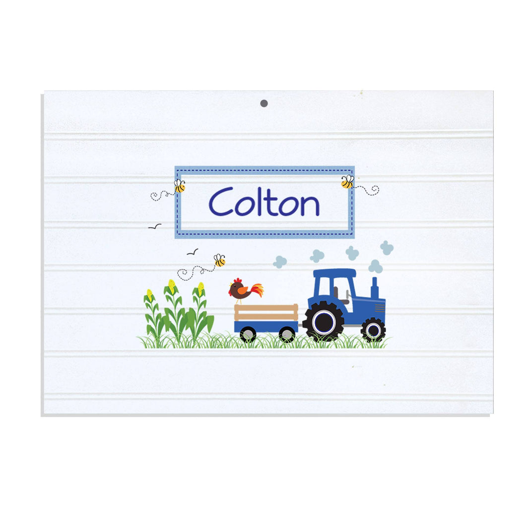 Personalized Vintage Nursery Sign with Blue Tractor design
