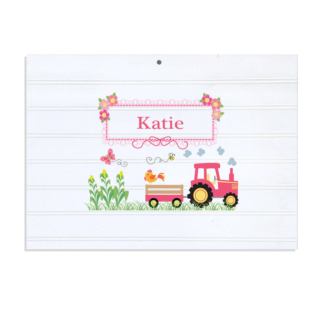 Personalized Vintage Nursery Sign with Pink Tractor design