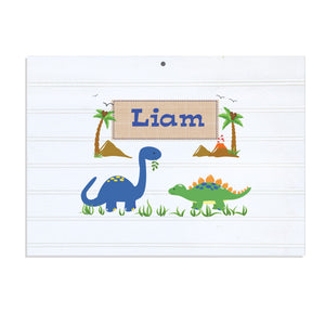 Personalized Vintage Nursery Sign with Dinosaurs design