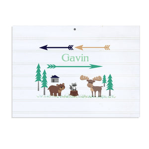 Personalized Vintage Nursery Sign with North Woodland Critters design