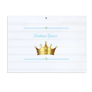 Personalized Vintage Nursery Sign with Prince Crown Blue design