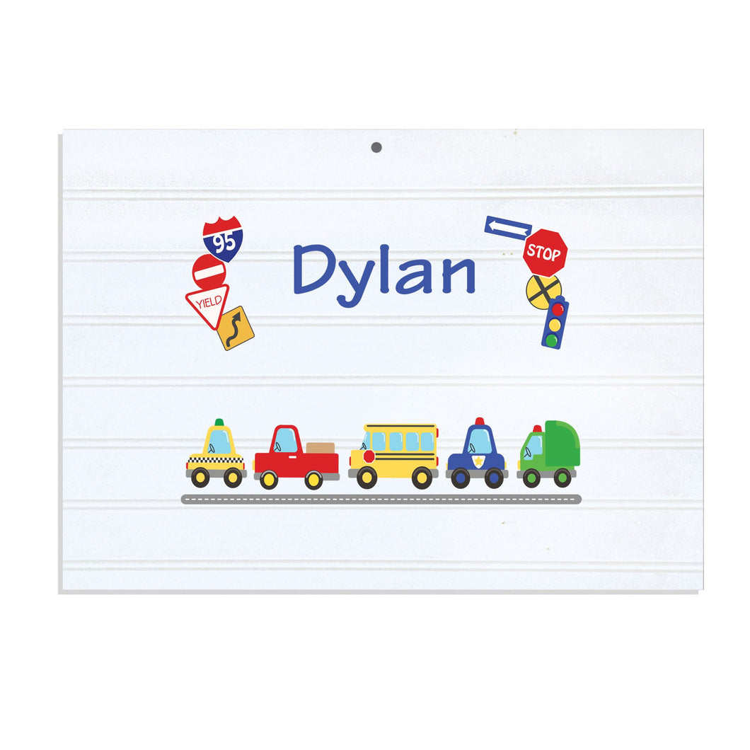 Personalized Vintage Nursery Sign with Cars and Trucks design