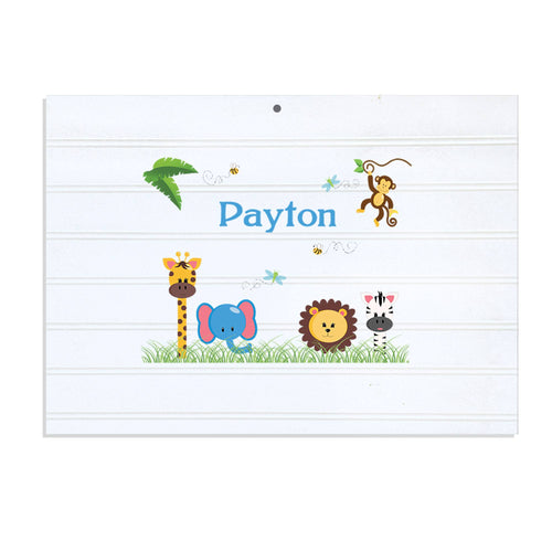 Personalized Vintage Nursery Sign with Jungle Animals Boy design