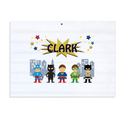Personalized Vintage Nursery Sign with Superhero design