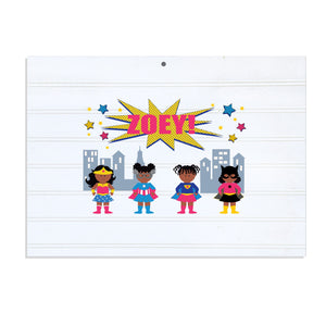 Personalized Vintage Nursery Sign with Super Girls African American design