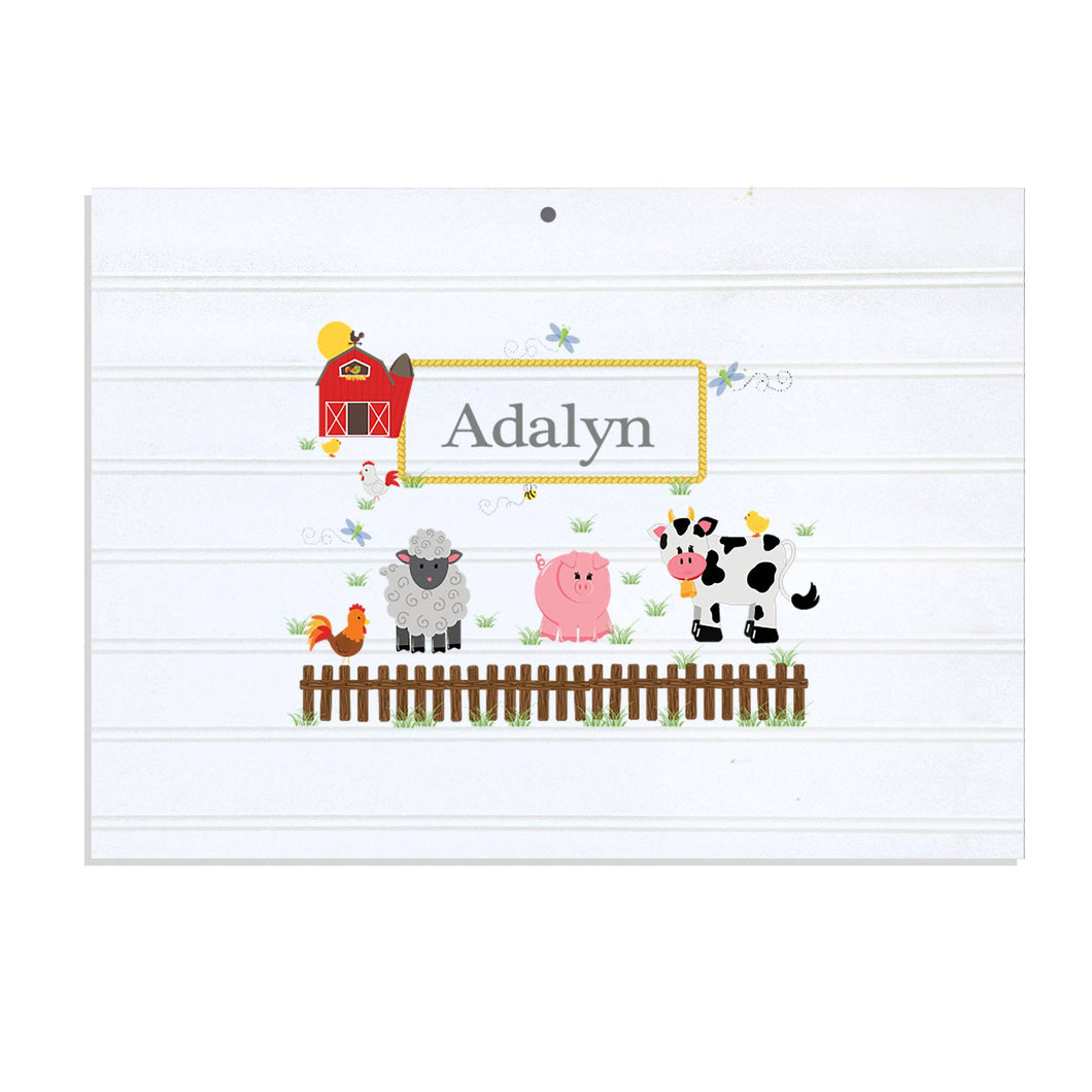 Personalized Vintage Nursery Sign with Barnyard Friends design