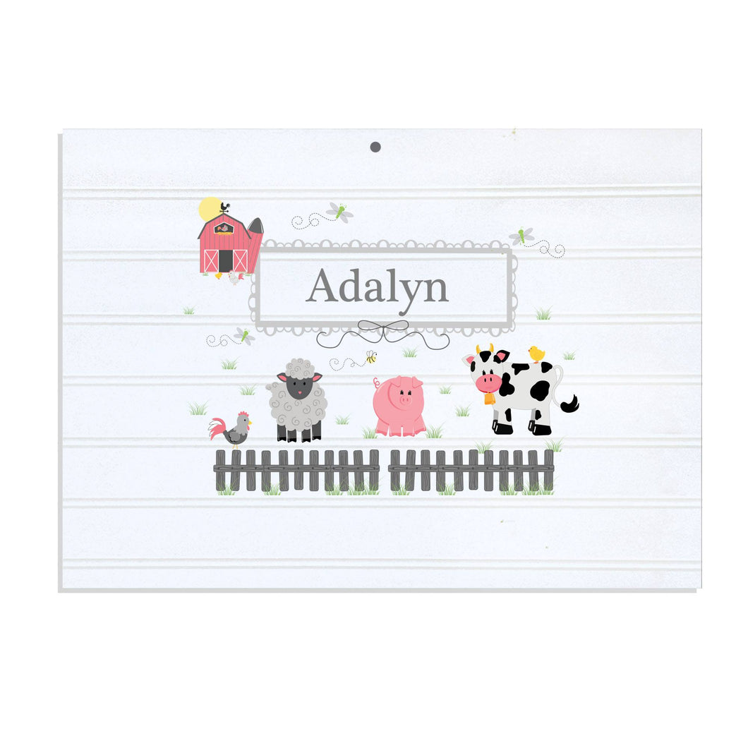 Personalized Vintage Nursery Sign with Barnyard Friends Pastel design