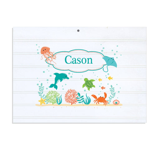 Personalized Vintage Nursery Sign with Sea and Marine design