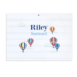 Custom Vintage Nursery Sign - Hot Air Balloon