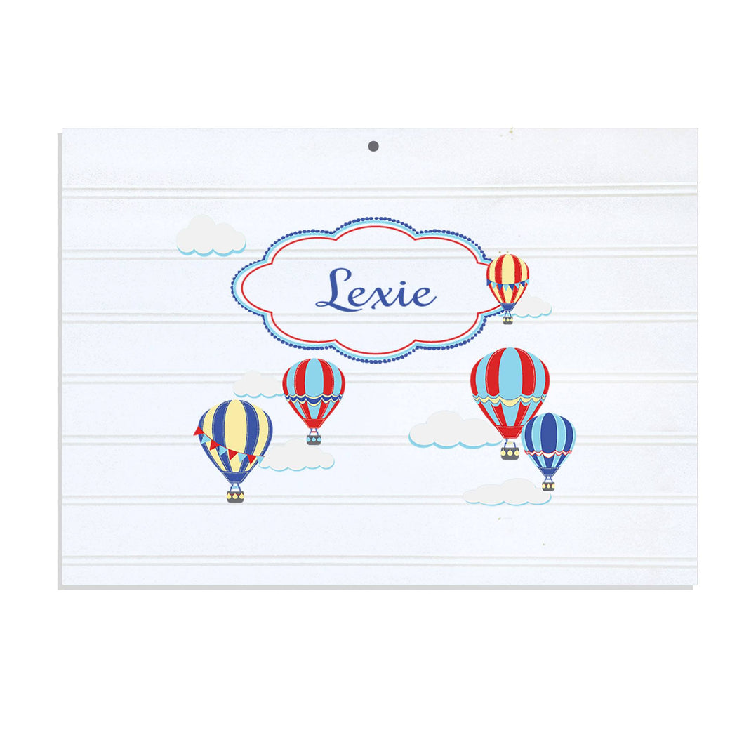 Personalized Vintage Nursery Sign with Hot Air Balloon Primary design