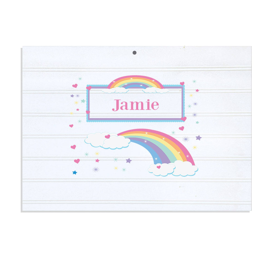 Personalized Vintage Nursery Sign with Rainbow Pastel design