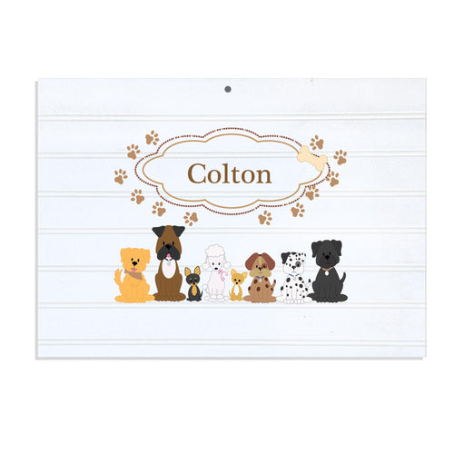 Personalized Vintage Nursery Sign with Brown Dogs design