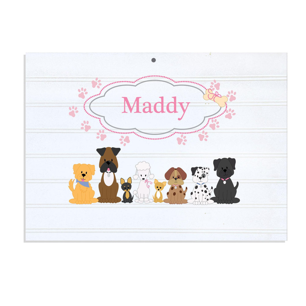 Personalized Vintage Nursery Sign with Pink Dog design