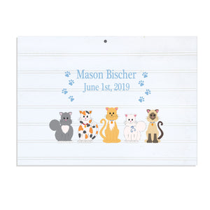 Custom Vintage Nursery Sign - Blue Cats