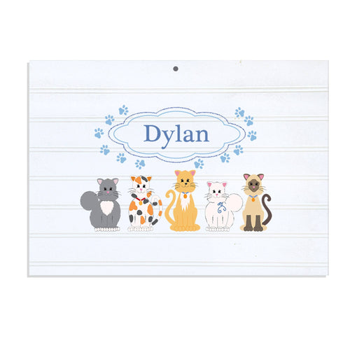 Personalized Vintage Nursery Sign with Blue Cats design