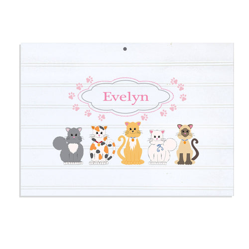 Personalized Vintage Nursery Sign with Pink Cats design