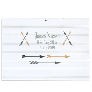 Custom Vintage Nursery Sign - Gold Gray Arrows