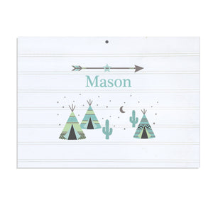 Personalized Vintage Nursery Sign with Teepee Aqua Mint design