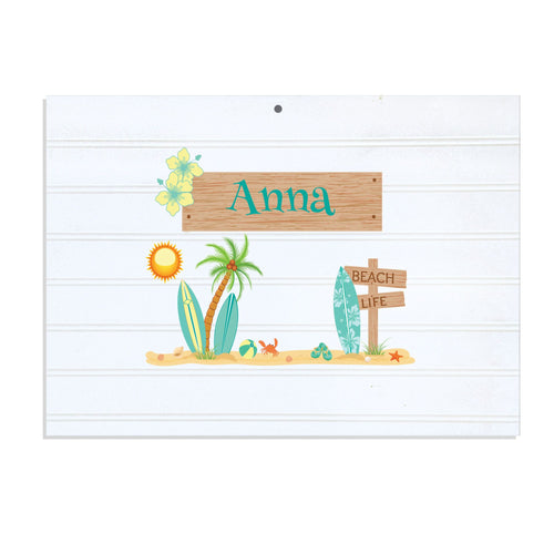 Personalized Vintage Nursery Sign with Surf'S Up design